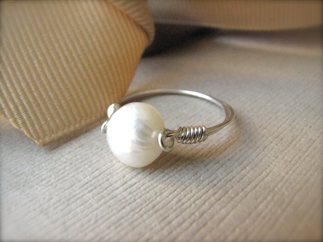Wire-Wrapped Sterling Silver & Pearl Ring - Purity