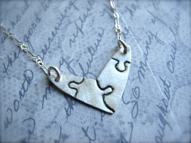 Puzzle Pieces Heart Necklace in Sterling Silver - Complete