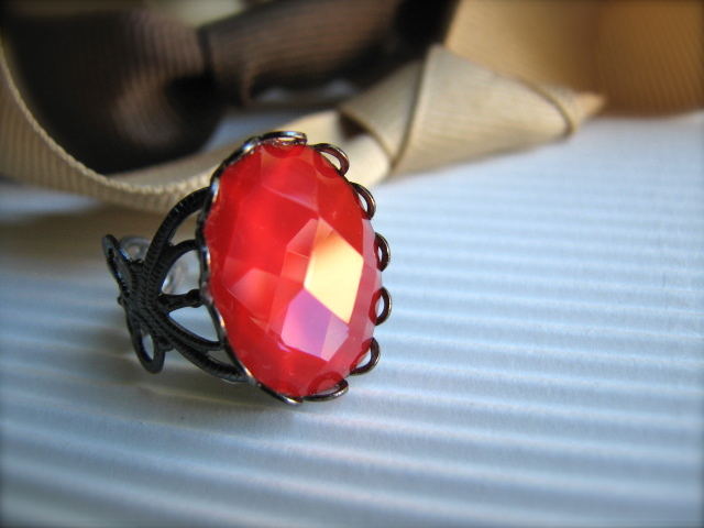 Red Faceted Cabochon and Gunmetal Adjustable Ring - Flame