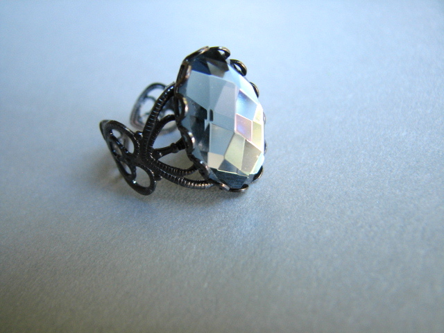 Deep Gray Faceted Cabochon and Gunmetal Adjustable Ring - Raven