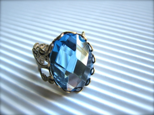 Sea Blue Faceted Cabochon and Brass Adjustable Ring - Marina