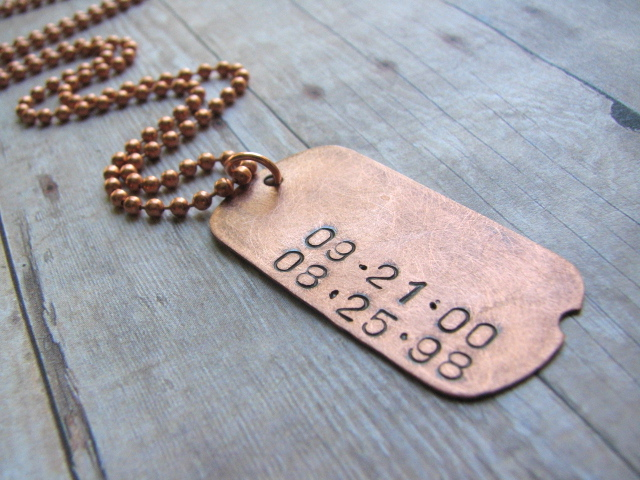Personalized Hand-Stamped Dog Tag Necklace - Daddy Dates