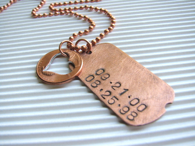 Personalized Hand-Stamped Copper Dog Tag & Coin - Mommy Dates