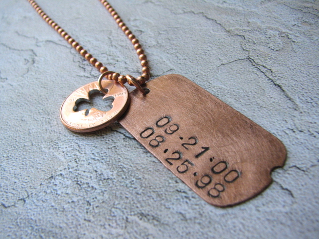Personalized Hand-Stamped Dog Tag Necklace with Stamped Penny