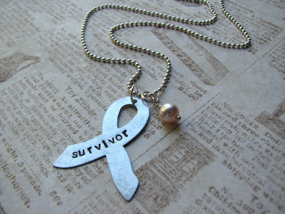 Handstamped Breast Cancer Awareness Ribbon Necklace