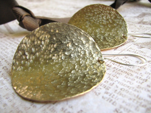 Large Hammered Raw Brass Disc Earrings - Potato Chips