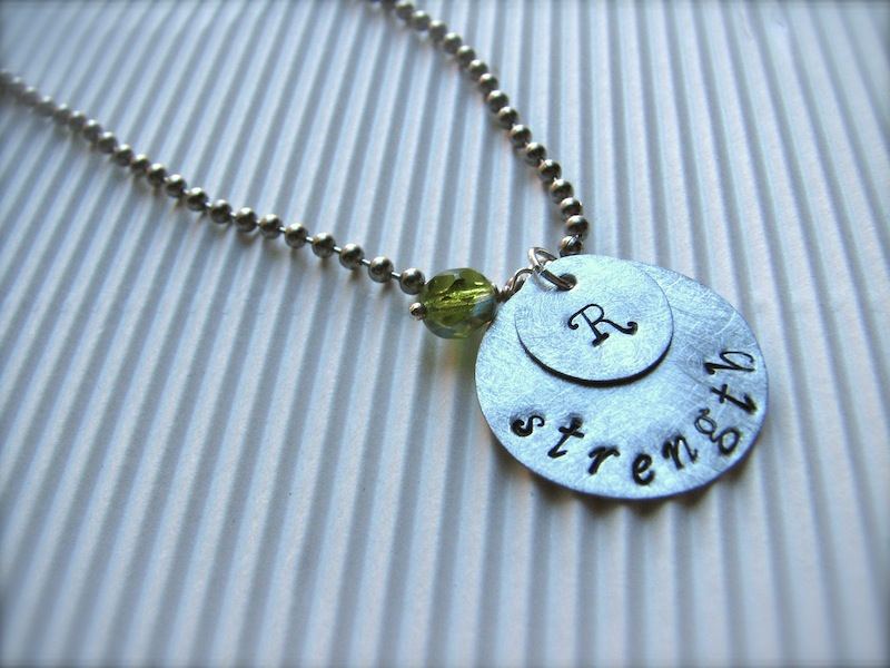 Personalized Hand-Stamped Initial & Inspirational Word Necklace