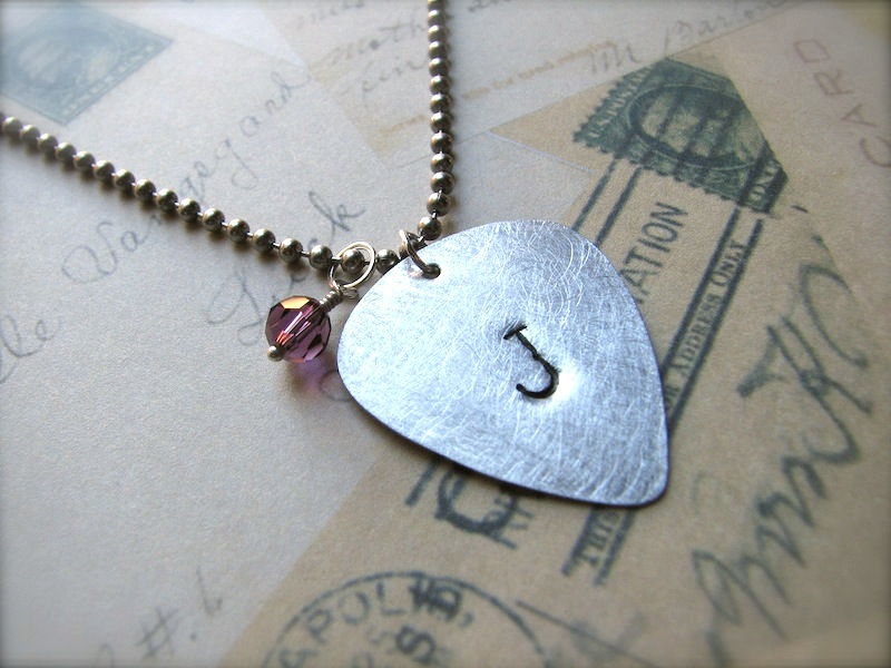 Personalized Hand-Stamped Initial Guitar Pick Necklace