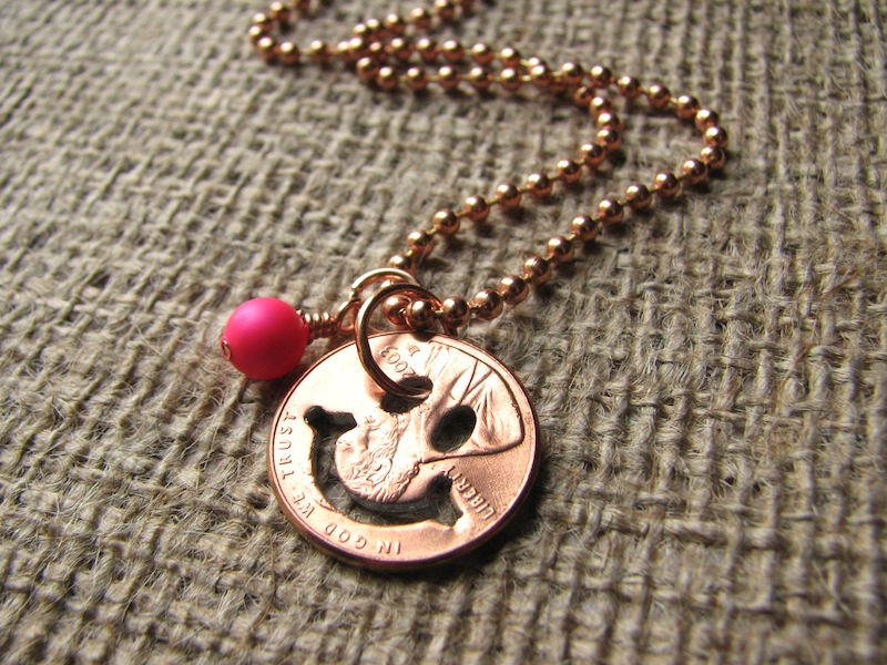 Stamped Penny from Heaven Necklace - The Happy Face [happy01