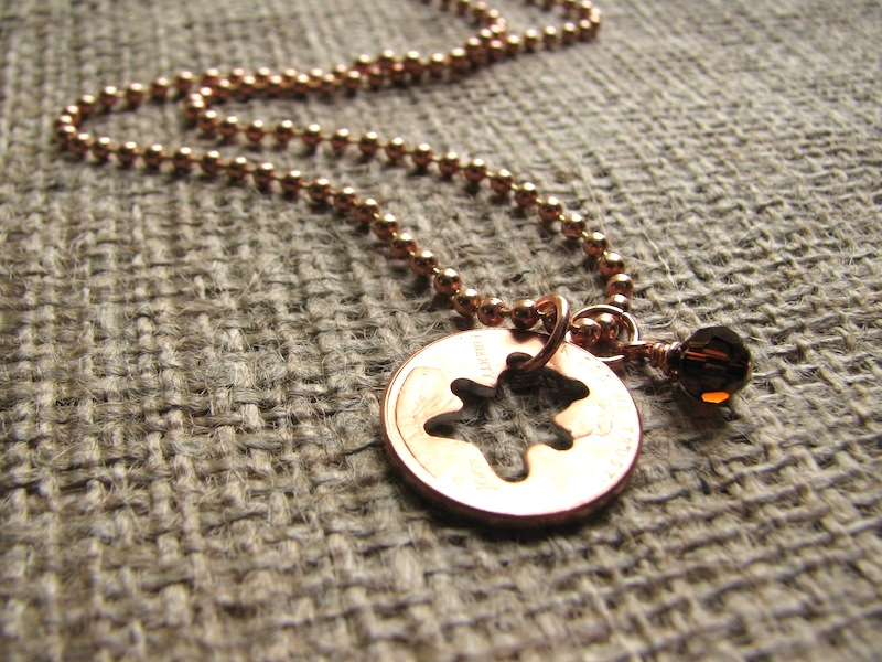 Stamped Penny from Heaven Necklace - The Teddy Bear [bear01