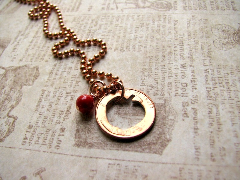 Stamped Penny from Heaven Necklace - The Apple [apple01] - $20 00