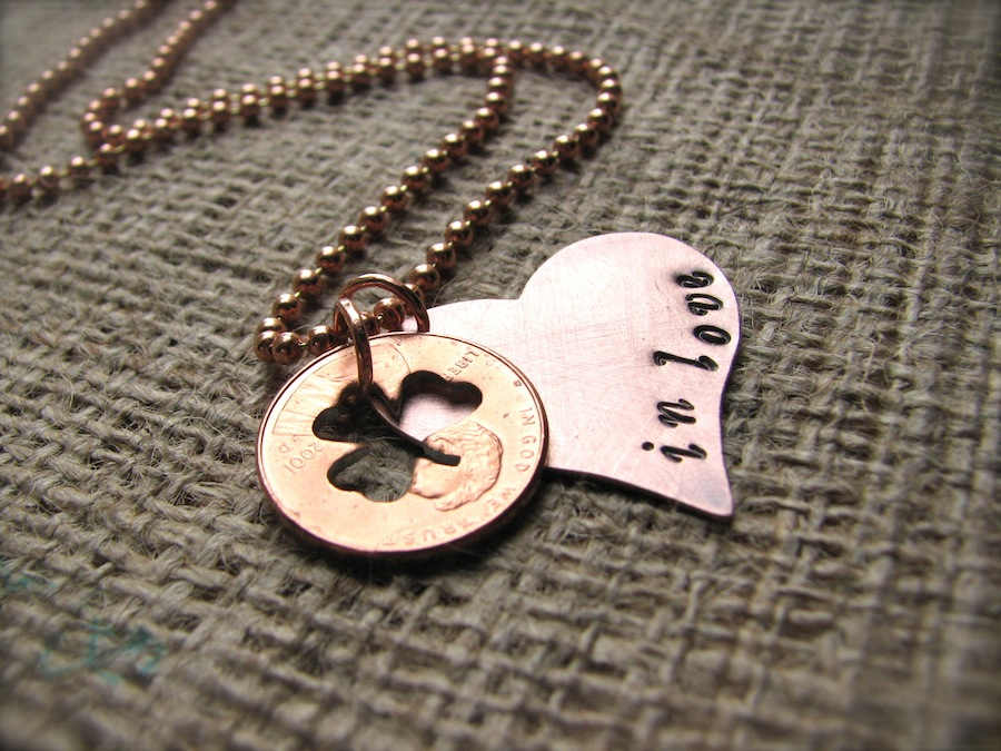Hand-Stamped Heart Necklace with Clover Penny - Lucky in Love