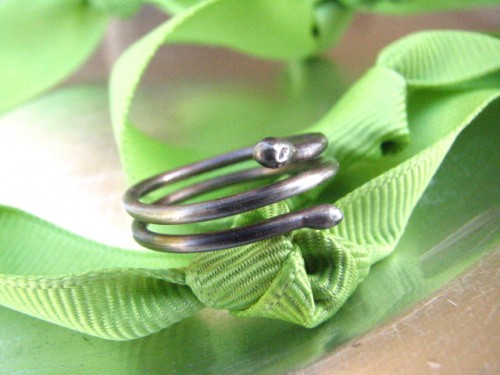 Oxidized Sterling Silver Coil Ring - The Snake