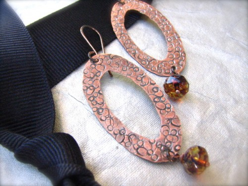 Large Oval Copper Earrings - Cinnabar