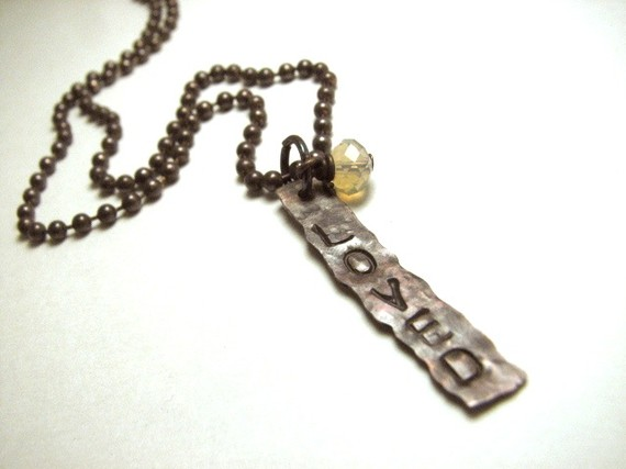 Hand-Stamped Oxidized Copper Necklace - Loved