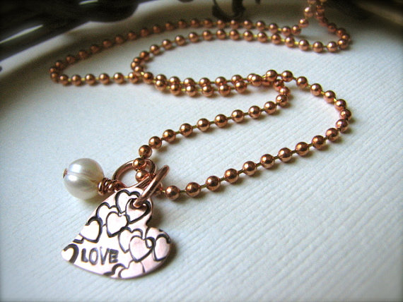 Hand-Stamped Copper Heart Necklace - Abundant Love