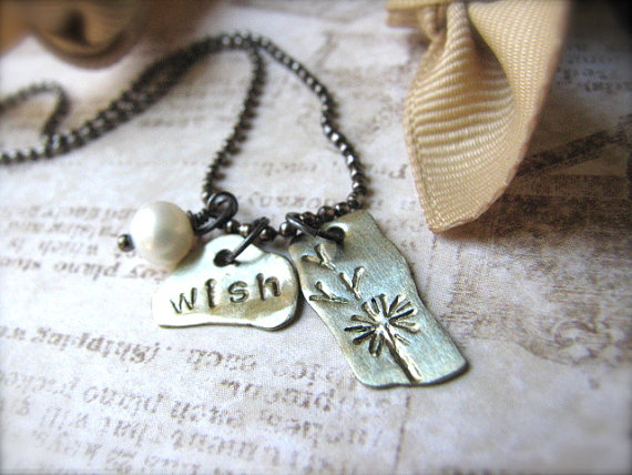 Hand-Stamped Recycled Brass & Sterling Necklace - Make a Wish