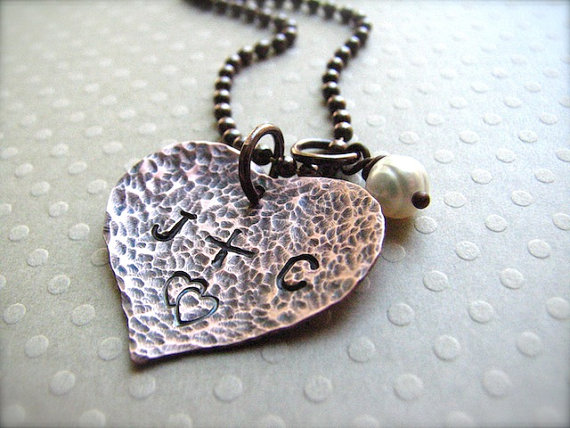 Personalized Handstamped Initial Heart Necklace - Boy Loves Girl