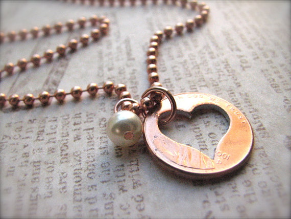 Stamped Penny from Heaven Necklace - The Heart