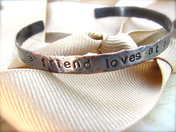 Hand-Stamped Copper Cuff Bracelet - Biblical Friendship