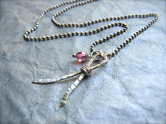Breast Cancer Awareness Necklace in Sterling Silver - Think PINK