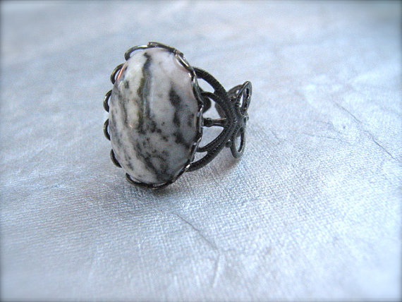 Pink Zebra Jasper Gemstone Adjustable Ring in Gunmetal - Wild