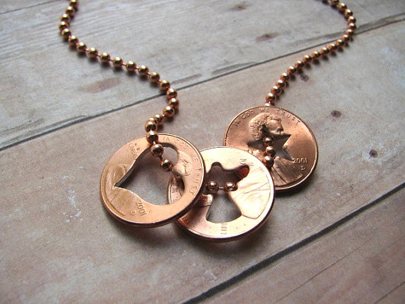 Stamped Pennies From Heaven Necklace for Guys - Pennies 4 Dudes