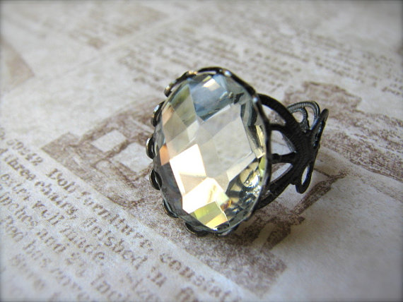 Faceted Ice Clear Stone & Gunmetal Adjustable Ring - Tuxedo