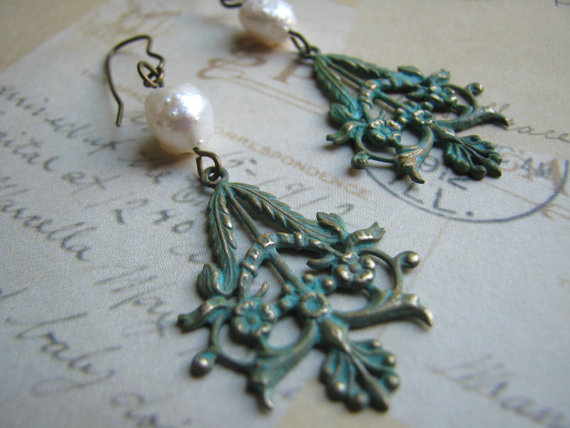 Long Brass Verdigris Finish Filigree Dangle Earrings - Poise